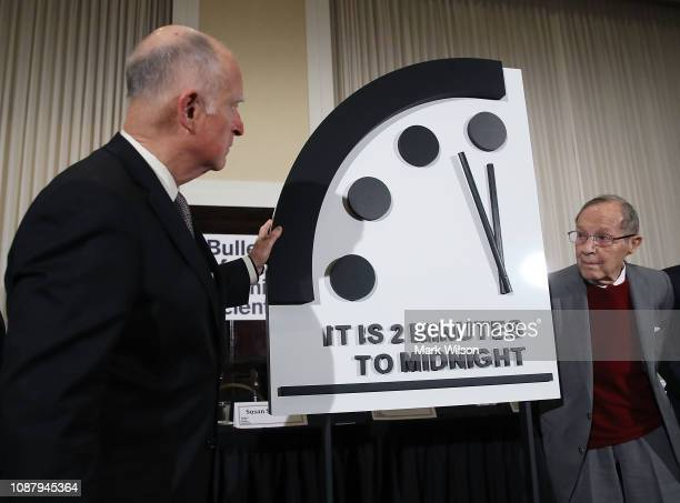 Former California Governor Jerry Brown and former US Secretary of Defense William Perry unveil the Doomsday Clock during The Bulletin of the Atomic...