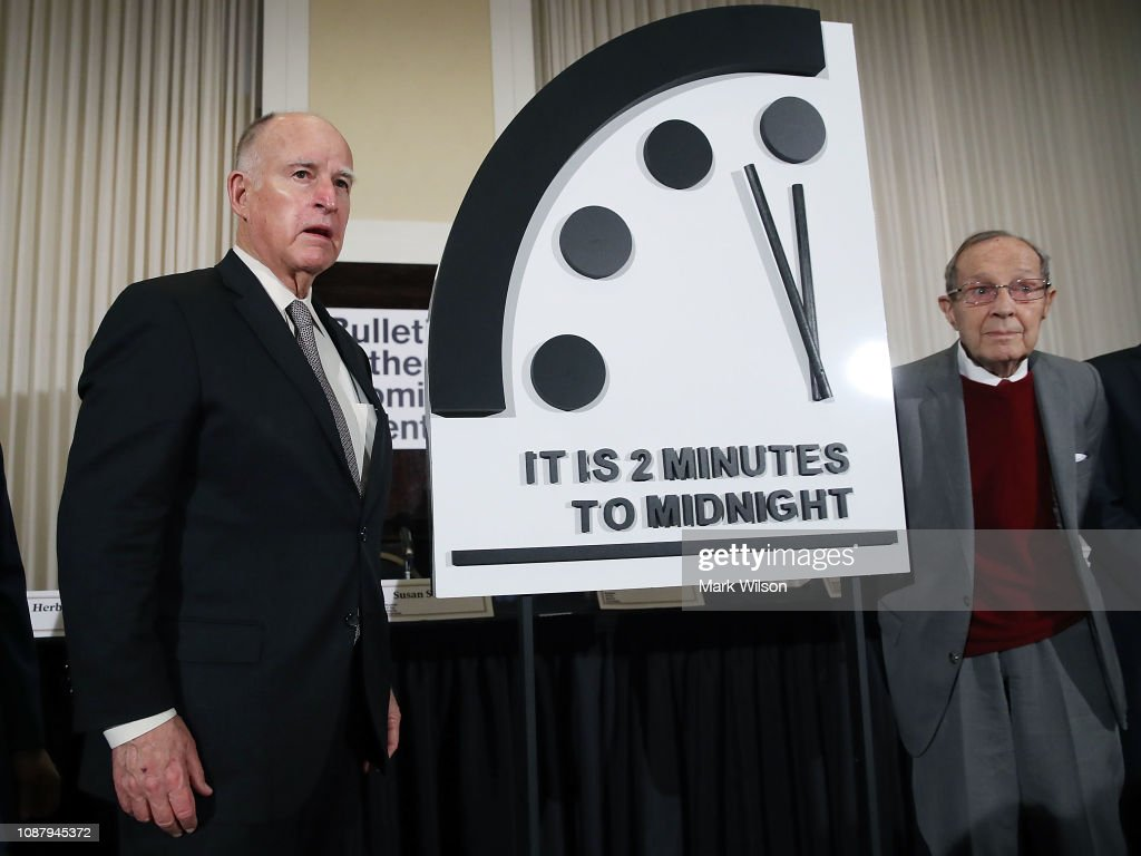 Bulletin Of The Atomic Scientists Hold Annual News Conference To Announce Adjustment To Doomsday Clock : News Photo