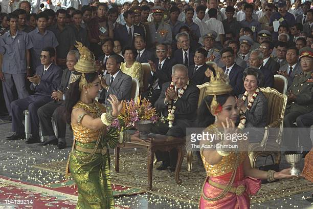 Former Cambodian King Prince Norodom Sihanouk attend the welcome ceremony to celebrate Sihanouk's return to Cambodia for the first time in almost 13...