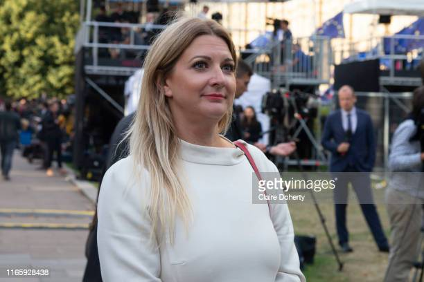 Former Cambridge Analytica employee Alexandra Phillips Brexit Party MEP in Westminster on the day that Parliament reconvenes after summer recess to...