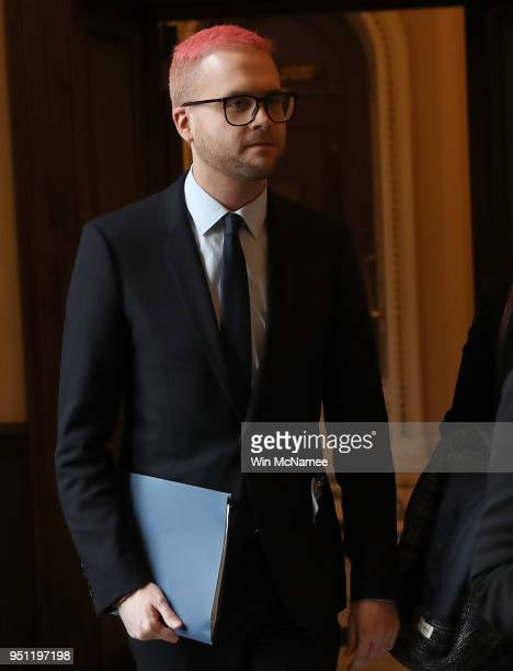 Former Cambridge Analytica employee Christopher Wylie arrives at the U.S. Capitol for a meeting with Democratic members of the House Intelligence...