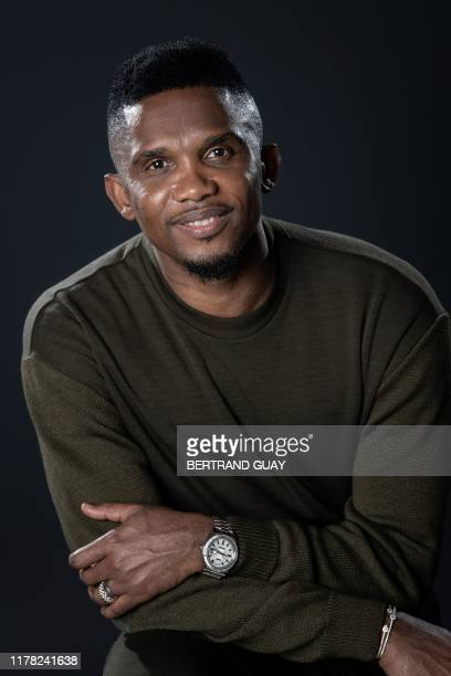 Former Cameroonian forward Samuel Eto'o poses during a photo session on October 24, 2019 in Paris.