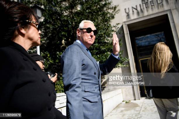 Former campaign advisor to US President Donald Trump Roger Stone arrives at US District Court in Washington DC on February 21 2019 Stone arrived for...