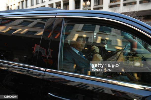 Former campaign advisor to US President Donald Trump Roger Stone departs US District Court in Washington DC on February 21 2019 Stone was present for...