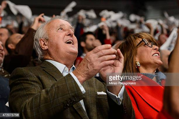 Former Canadian Prime Minister Brian Mulroney accompanied by his wife Mila Mulroney enjoy the atmosphere in Game One of the Eastern Conference...