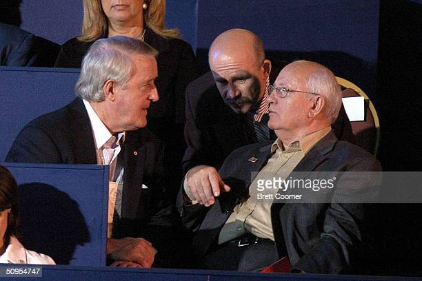 Former Canadian Prime Minister Brian Mulroney former Mexican President Carlos Salinas and former Soviet President Mikhail Gorbachev talk during...