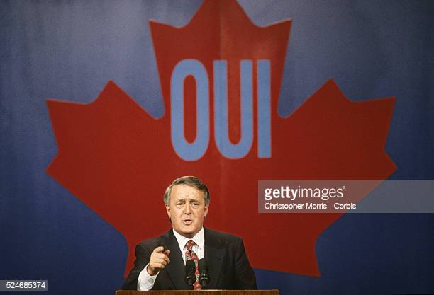 Former Canadian Prime Minister Brian Mulroney giving a speech in Montreal supporting the Charlottetown agreement between the provinces Mulroney was...