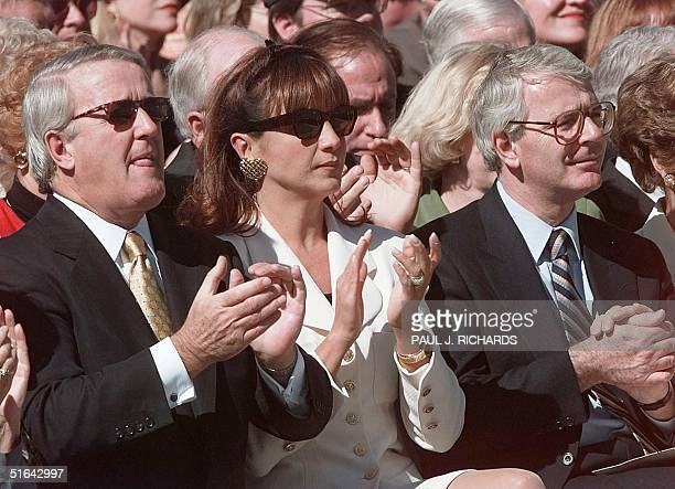 Former Canadian Prime Minister Brian Mulroney his wife Mila and Former British Prime Minister John Major attend the dedication ceremony of the George...
