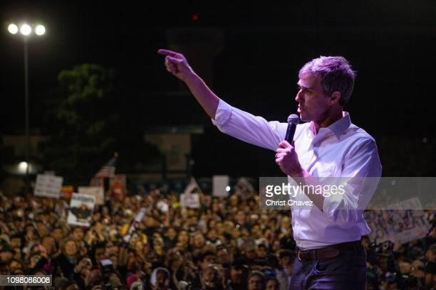 Former candidate for US Senate Beto O'Rourke speaks to thousands of people gathered to protest a US/Mexico border wall being pushed by President...