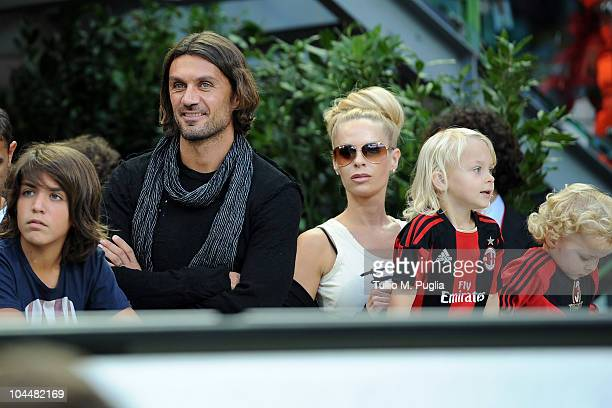 Former captain of Milan Paolo Maldini his son Helena Seger Ibrahimovic and her children look on in VIPstanding before the Serie A match between Milan...