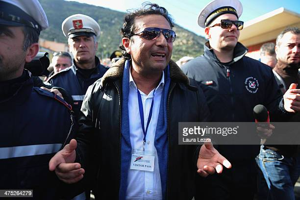 Former Captain of the Costa Concordia Francesco Schettino speaks with reporters after being aboard the ship with the team of experts inspecting the...