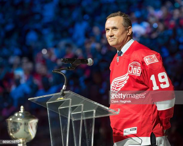 Former captain of the Detroit Red Wings Steve Yzerman speaks during post game ceremonies after the final home game ever played at Joe Louis Arena...