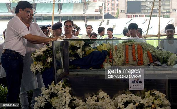 Former captain of the Indian cricket team Sourav Ganguly pays last respects to Jagmohan Dalmiya the late president of the Board of Control for...