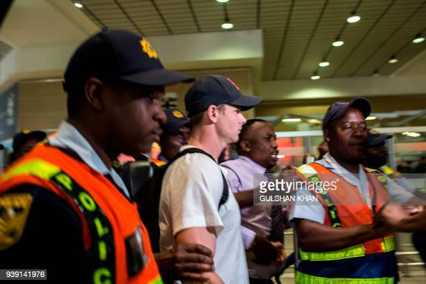 Former captain Steve Smith of the Australian Cricket Team departs at O R Tambo International Airport after being caught cheating in the Sunfoil Test...