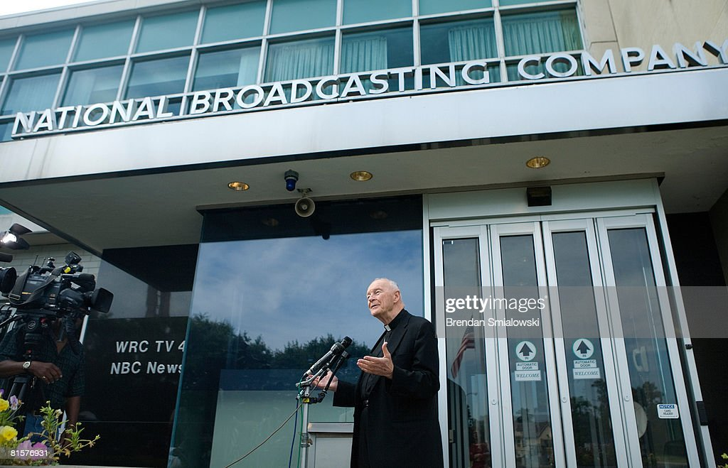 Former Cardinal Archbishop of Washington, DC Theodore McCarrick speaks to the press about Tim Russert at NBC's bureau June 15, 2008 in Washington, DC. This week's Meet the Press show was a tribute to host Tim Russert who died at age 58 of a heart attack last week.