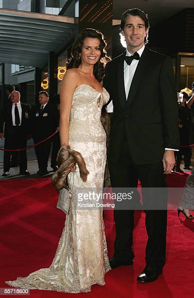 Former Carlton player Stephen Silvagni and wife Jo Silvagni arrive for the Brownlow Medal Dinner at the Crown Casino on September 19 2005 in...