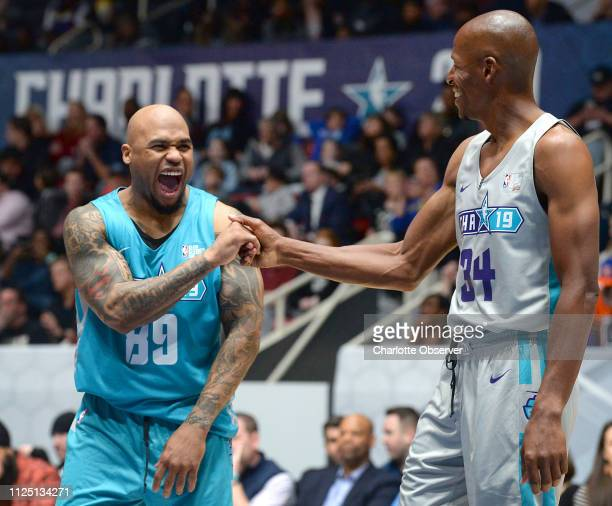 Former Carolina Panthers wide receiver Steve Smith left jokes with former NBA star Ray Allen right during the NBA AllStar Celebrity Game at...