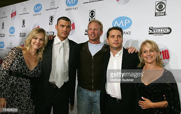 Former cast members Jennie Garth Brian Austin Green Ian Ziering Jason Priestley and Gabrielle Carteris arrive at the Beverly Hills 90210 The Complete...