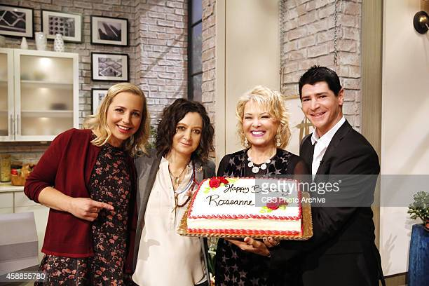 Former castmates from the television series 'Roseanne' Roseanne Barr Lecy Goranson Michael Fishman and Sara Gilbert reunite on 'The Talk' Tuesday...