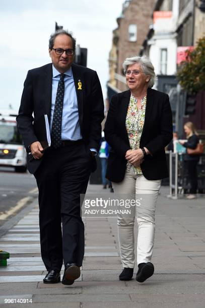 Former Catalan education minister Clara Ponsati and Calatan President Quim Torra arrive to hold a press conference in Edinburgh on July 11 2018 After...