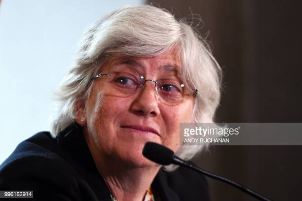 Former Catalan education minister Clara Ponsati attends a press conference in Edinburgh on July 11 2018 After years of holding Catalan separatists at...