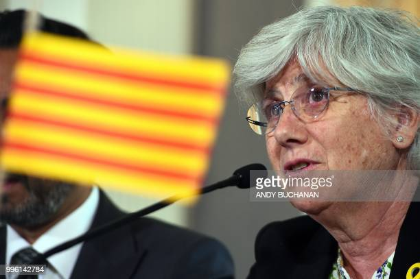 Former Catalan education minister Clara Ponsati speaks during a press conference in Edinburgh on July 11 2018 After years of holding Catalan...
