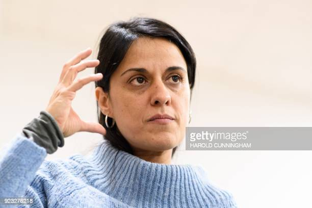 Former Catalan MP Anna Gabriel gestures as she gives an interview on February 22 2018 in Geneva Anna Gabriel a proindependence former member of the...