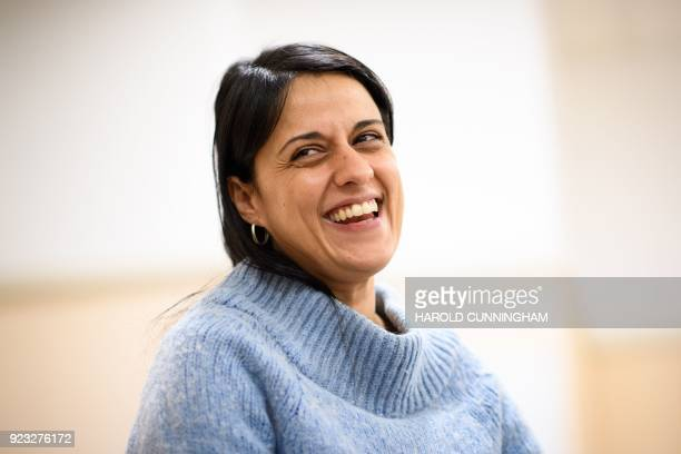 Former Catalan MP Anna Gabriel reacts as she gives an interview on February 22 2018 in Geneva Anna Gabriel a proindependence former member of the...