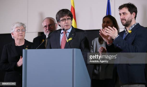 Former Catalan President Carles Puigdemont makes a speech in Brussels Belgium after separatist Catalans won the Catalan regional parliamentary...
