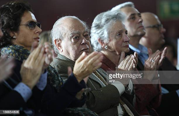 Former Catalan president Jordi Pujol attends a Catalan Convergence and Unity party campaign meeting on November 18 in Barcelona Catalonia will hold a...