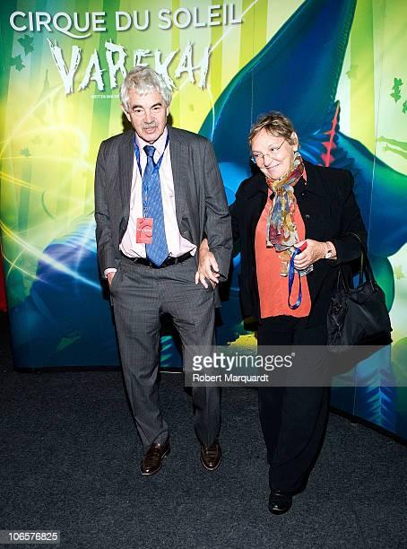 Former Catalan President Pasqual Maragall and wife Diana Garrigosa attend a photocall for the Cirque du Soleil 'Varekai' show on November 5 2010 in...