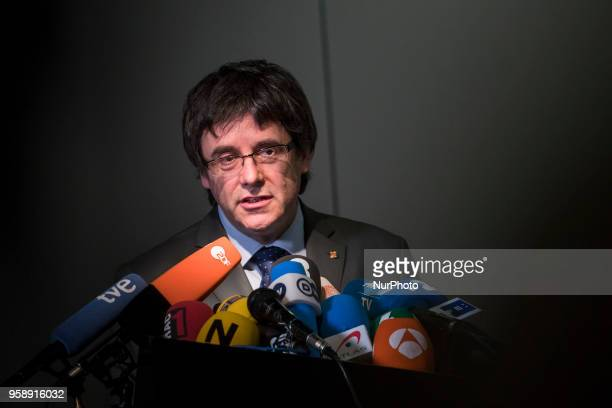 Former Catalan Prime Minister Qim Carles Puigdemont is picture during a press conference in Berlin Germany on May 15 2018