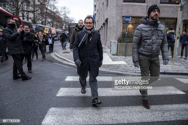 Former Catalan regional president Artur Mas attends a proindependence demonstration on December 7 2017 in Brussels A sea of around 45000 proCatalonia...