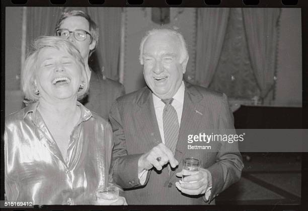 Former CBS news anchor Walter Cronkite and columnist Liz Smith seen during a celebrity roast for Cronkite at the Mayflower Hotel Both Cronkite and...