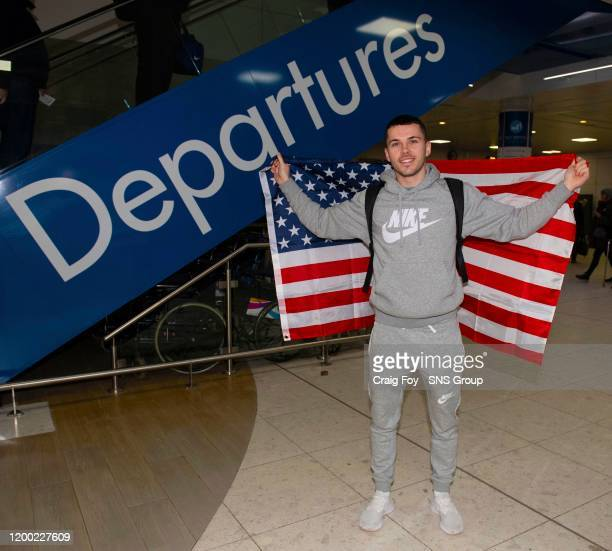 Former Celtic player Lewis Morgan is pictured at Glasgow Airport as he departs Scotland to begin training with new side Inter Miami, on February 12...