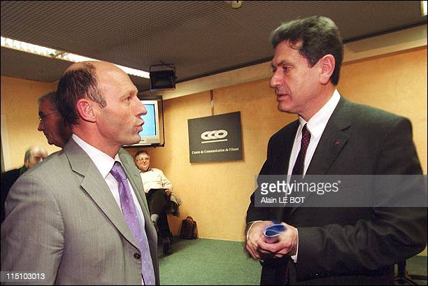 Former CEO of Air France Christian Blanc in Nantes for Presidential campaign in Nantes France on January 31 2002 With friend Philippe Legorjus former...