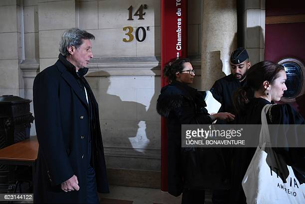 Former CEO of French media group France Televisions Patrick De Carolis arrives for his trial at the courthouse of Paris on November 14 2016 Former...