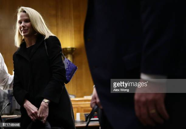 Former CEO of Yahoo Marissa Mayer after a hearing before Senate Commerce, Science and Transportation Committee November 8, 2017 on Capitol Hill in...