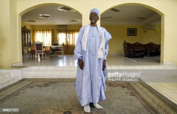 Former Chad president Goukouni Weddeye poses inside his house during an interview by AFP journalist on March 29 2015 in N'Djamena AFP PHOTO /...