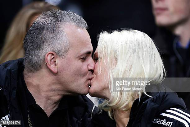 Former chairman of AIK Johan Segui kisses his wife during the Allsvenskan match between AIK and BK Hacken at Friends arena on October 27 2016 in...