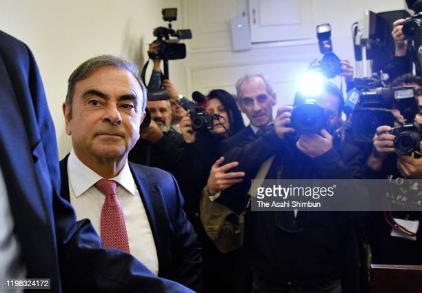 Former chairman of Nissan and Mitsubishi Motors Carlos Ghosn arrives at a press conference on January 8 2020 in Beirut Lebanon The former chairman of...