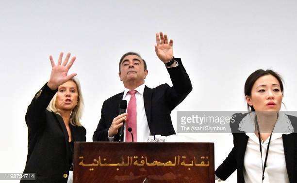 Former chairman of Nissan and Mitsubishi Motors Carlos Ghosn attends a press conference on January 8 2020 in Beirut Lebanon The former chairman of...