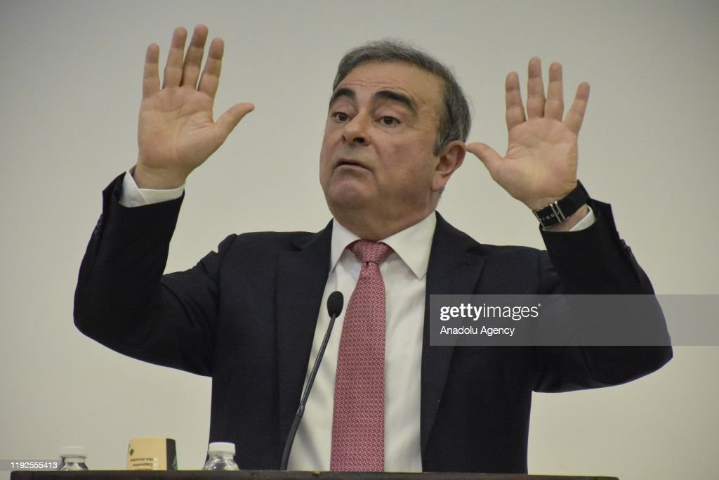 Former chairman of Nissan Ghosn's press conference : ニュース写真