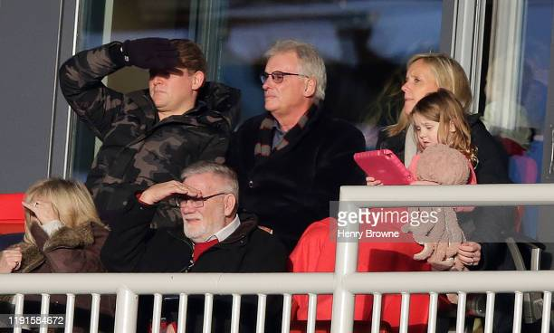 Former chairman of Saracens Nigel Wray watches the Gallagher Premiership Rugby match between Saracens and Worcester Warriors at Allianz Park on...