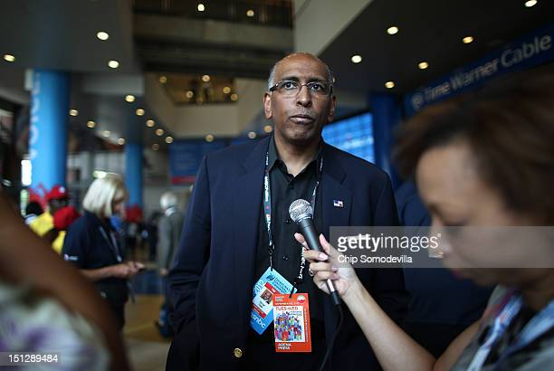 Former chairman of the Republican National Committee Michael S Steele attends day two of the Democratic National Convention at Time Warner Cable...