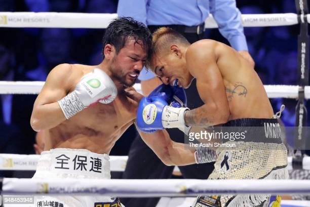 Former champion Daigo Higa of Japan and Challenger Cristofer Rosales of Nicaragua exchange punches during the WBC Flyweight Title Bout at Yokohama...