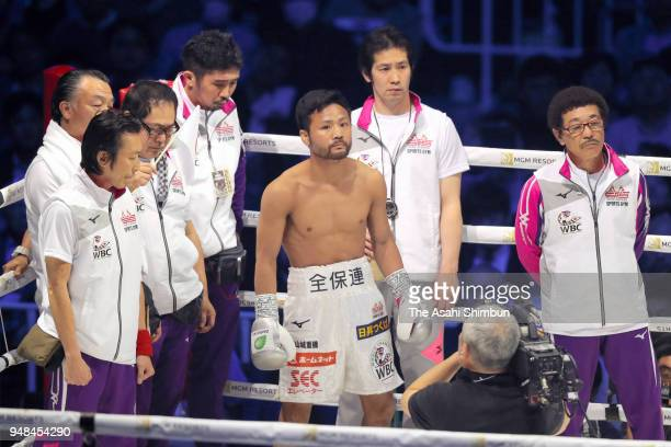 Former champion Daigo Higa of Japan enters the ring with coach Yoko Gushiken prior to the WBC Flyweight Title Bout at Yokohama Arena on April 15 2018...