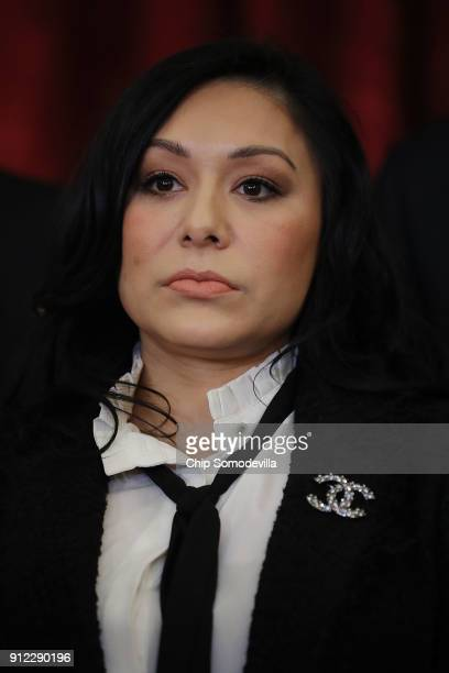 Former champion gymnast Jeanette Antolin participates in a news conference with members of Congress in the Russell Senate Office Building on Capitol...