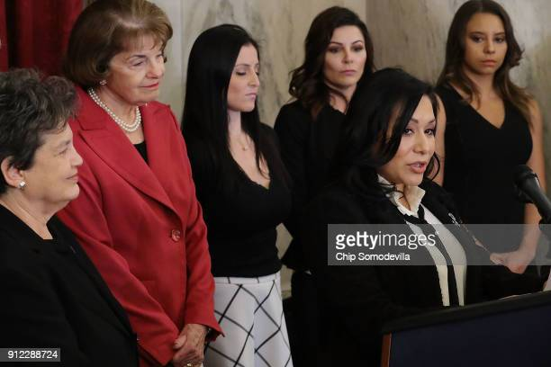 Former champion gymnast Jeanette Antolin speaks during a news conference to discuss new legislation to protect athletes with Sen Dianne Feinstein and...