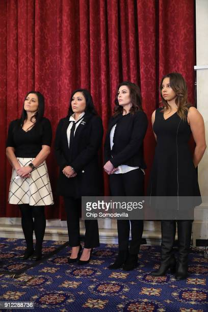 Former champion gymnasts Dominique Moceanu Jeanette Antolin Jamie Dantzscher and Mattie Larson join a news conference about new legislation to...